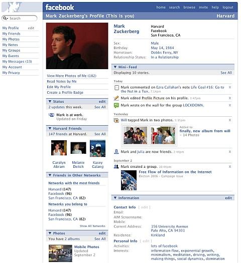 persönliche Profilseite anno 2007