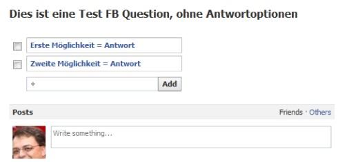 FB Frage gestellt, Antworten eingetragen