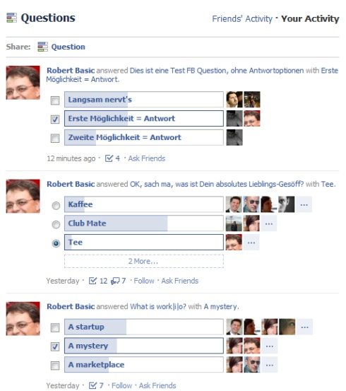 FB Questions Übersicht